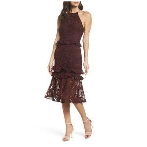 Cooper ST Enchantment Lace Midi Dress Burgundy 4